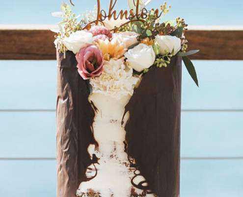 Chocolate wrap semi naked one tier